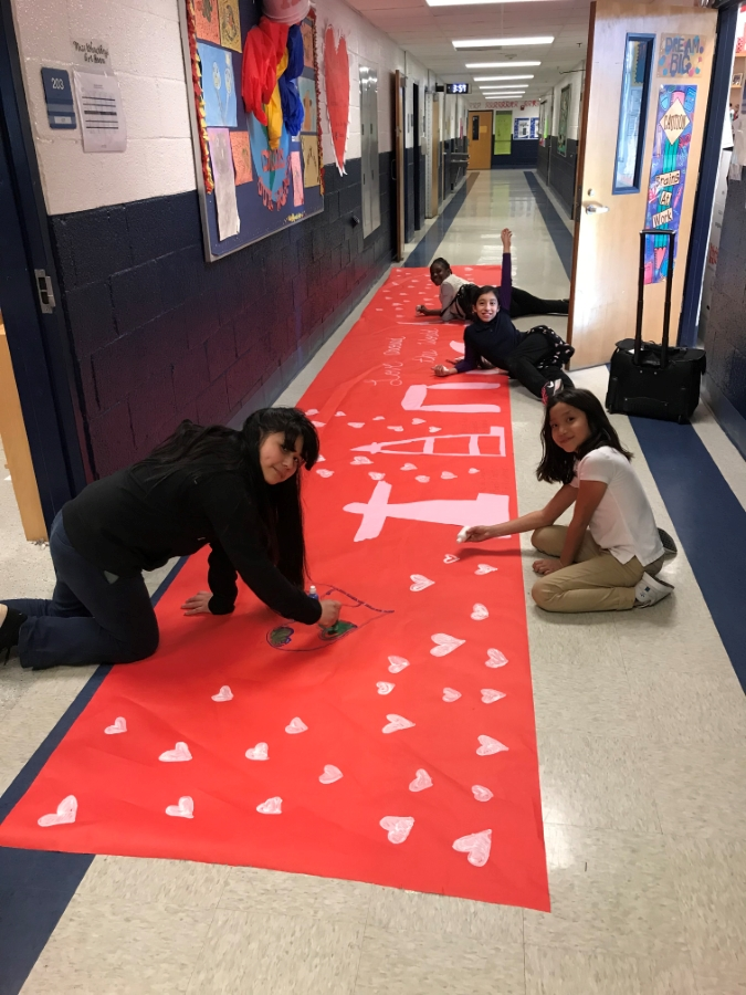 Student Council working on decorations for the Sweetheart Dance