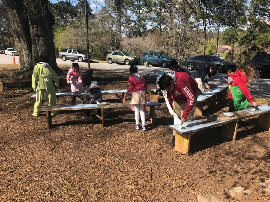 Environmental Art Club painting benches